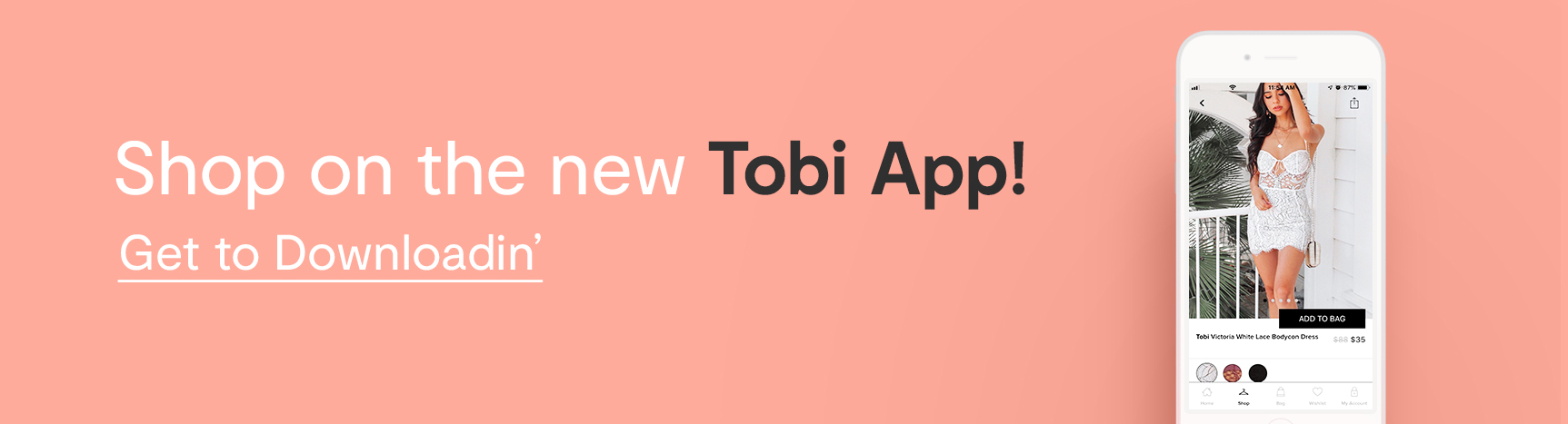 Shop on the new Tobi App! Get to Downloadin': photo of white iPhone featuring a woman wearing a white lace bodycon dress