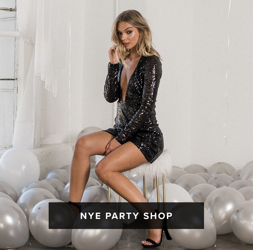 NYE Party Shop: blonde woman wears a black long sleeve plunging sequin bodycon mini dress with open toe high heels