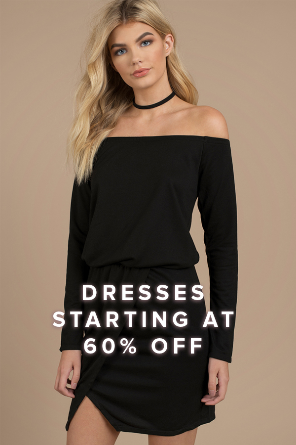 Dresses Starting at 60% Off: blonde woman wearing a black long sleeve bardot mini dress with slit and a black choker