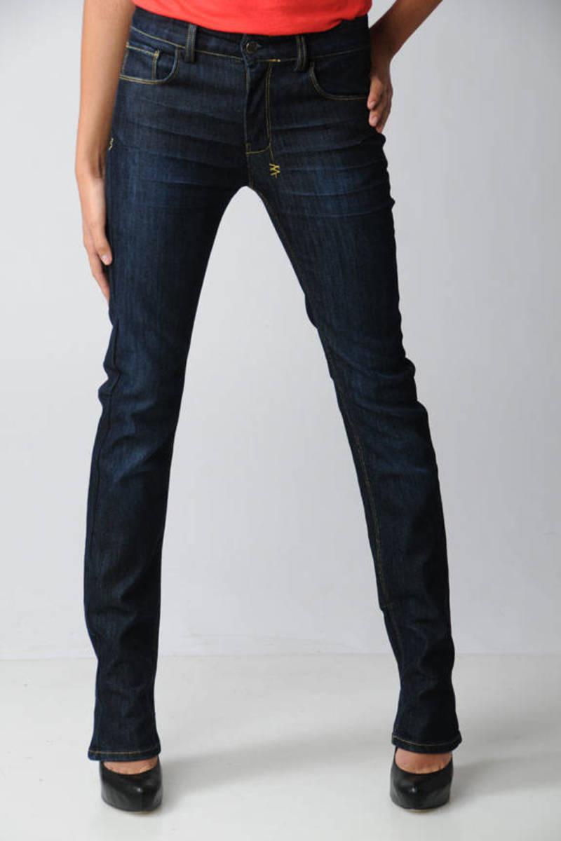 858ec7095d Blue Ksubi Jeans - Dark Wash Jeans - Blue Straight Leg Jeans -  77 ...