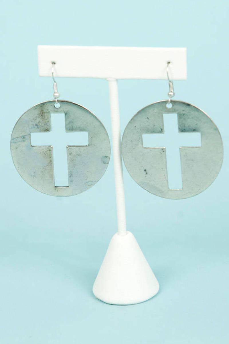 Framed Cross Earrings