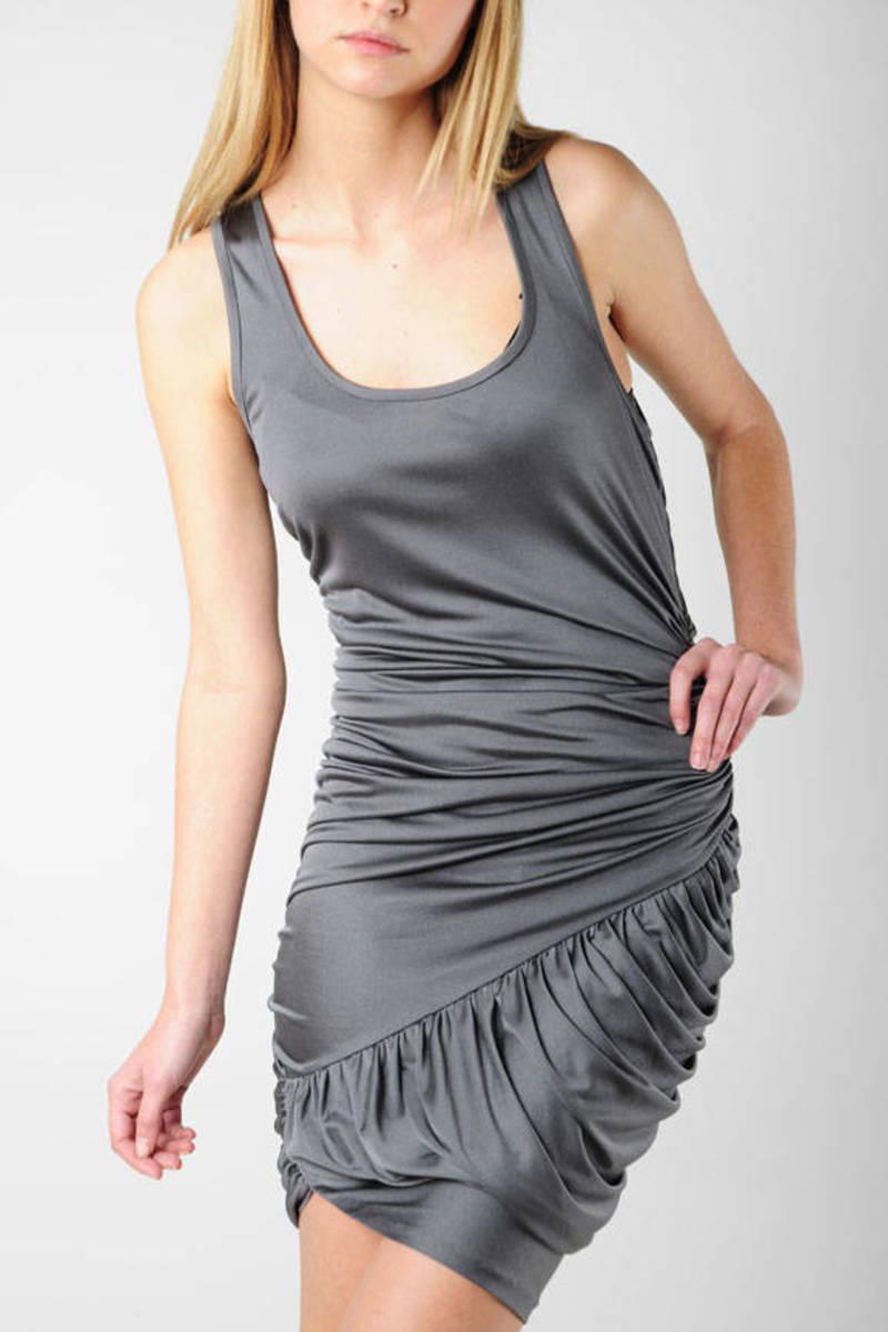 439ce6fb7dd Grey Bodycon Dress - Elizabeth   James Ruched Dress - Grey Scoop ...