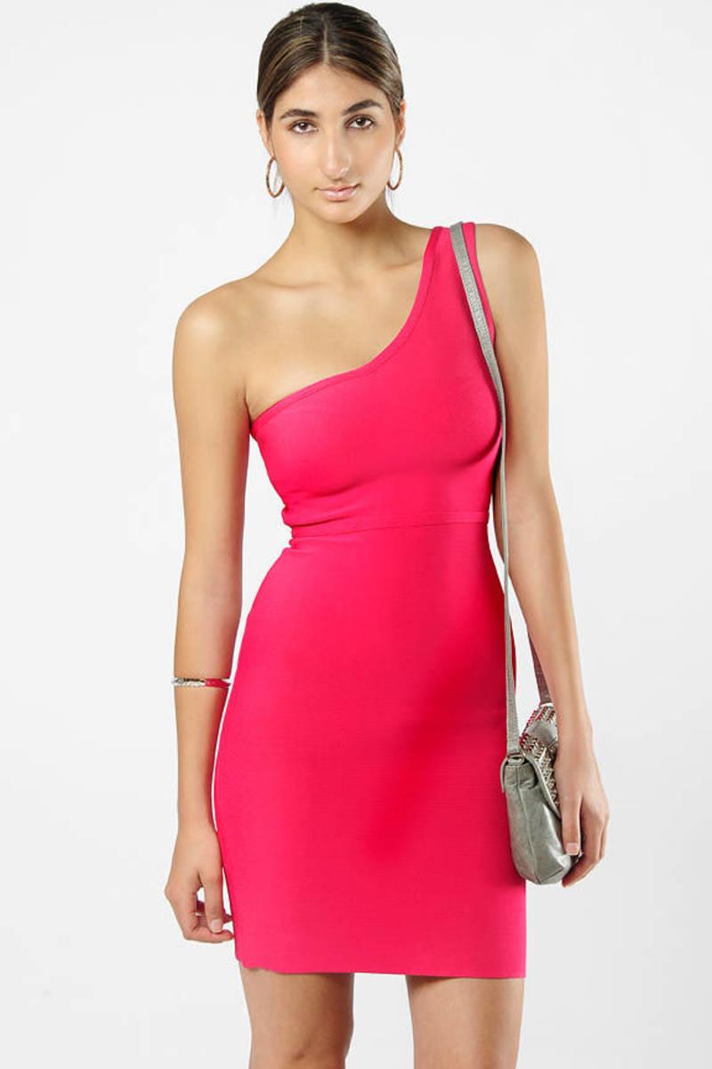 c4a9d8e7ff76 Pink Bcbgmaxazria Dress - Back Zipper Dress - Pink One Shoulder ...