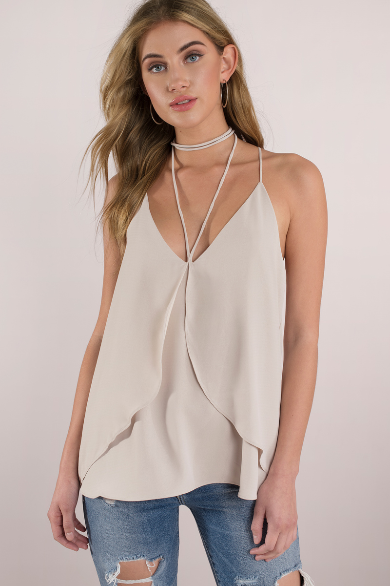 Elizabeth Beige Satin Strappy Top