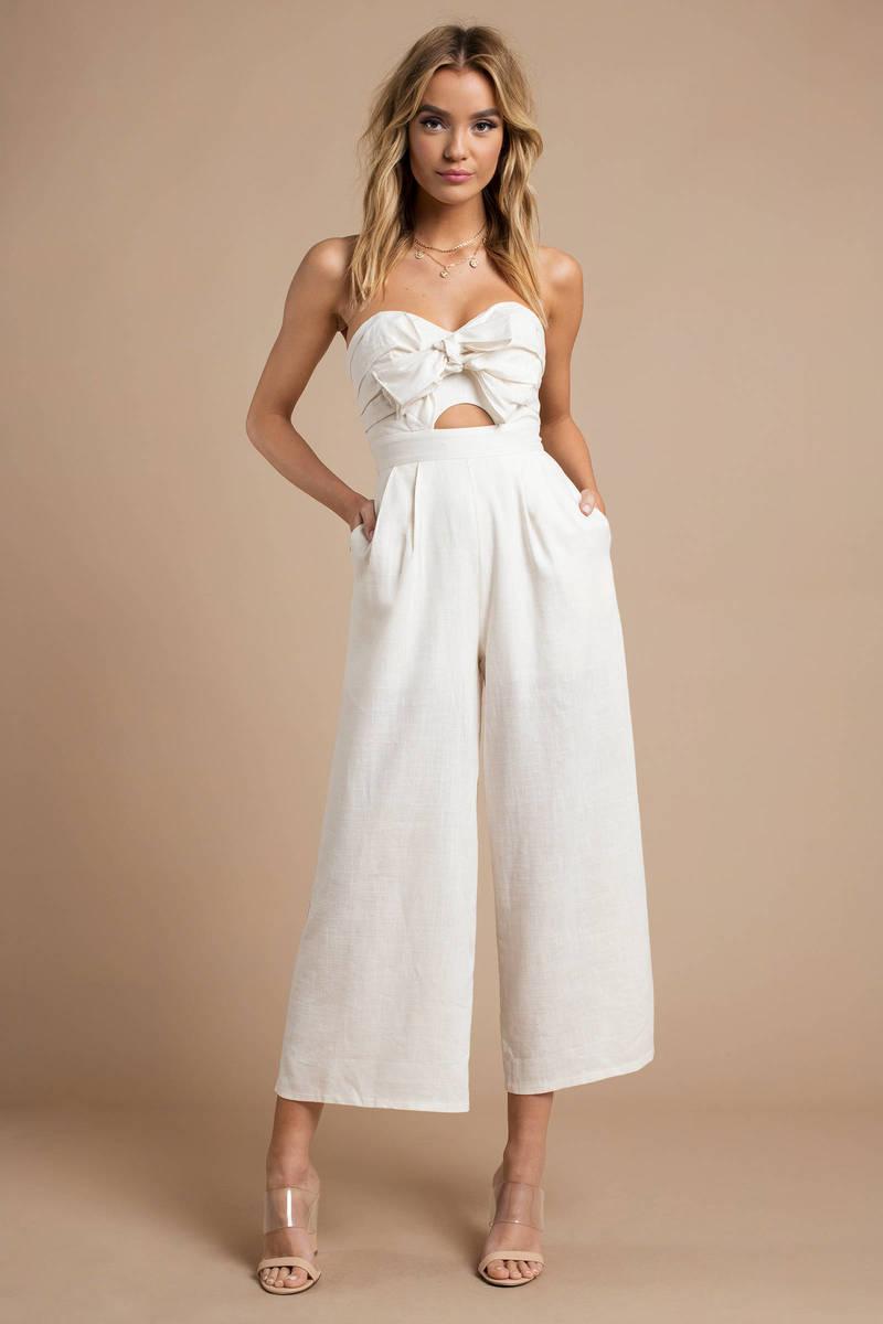 a6dfe040f67b White Astr Jumpsuit - Front Bow Jumpsuit - White Brunch Jumpsuit ...
