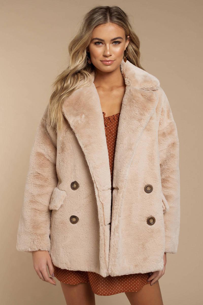 d840d7b5249a Beige Free People Coat - Button Up Coat - Beige Faux Fur Coat - £148 ...