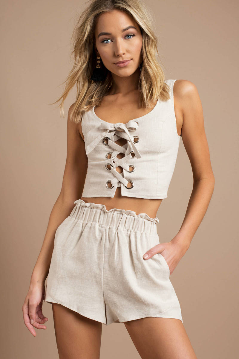 Lucca Couture Crop Top - Beige Cropped Tank Top - Lace Up Crop Top ... 65698cdd7