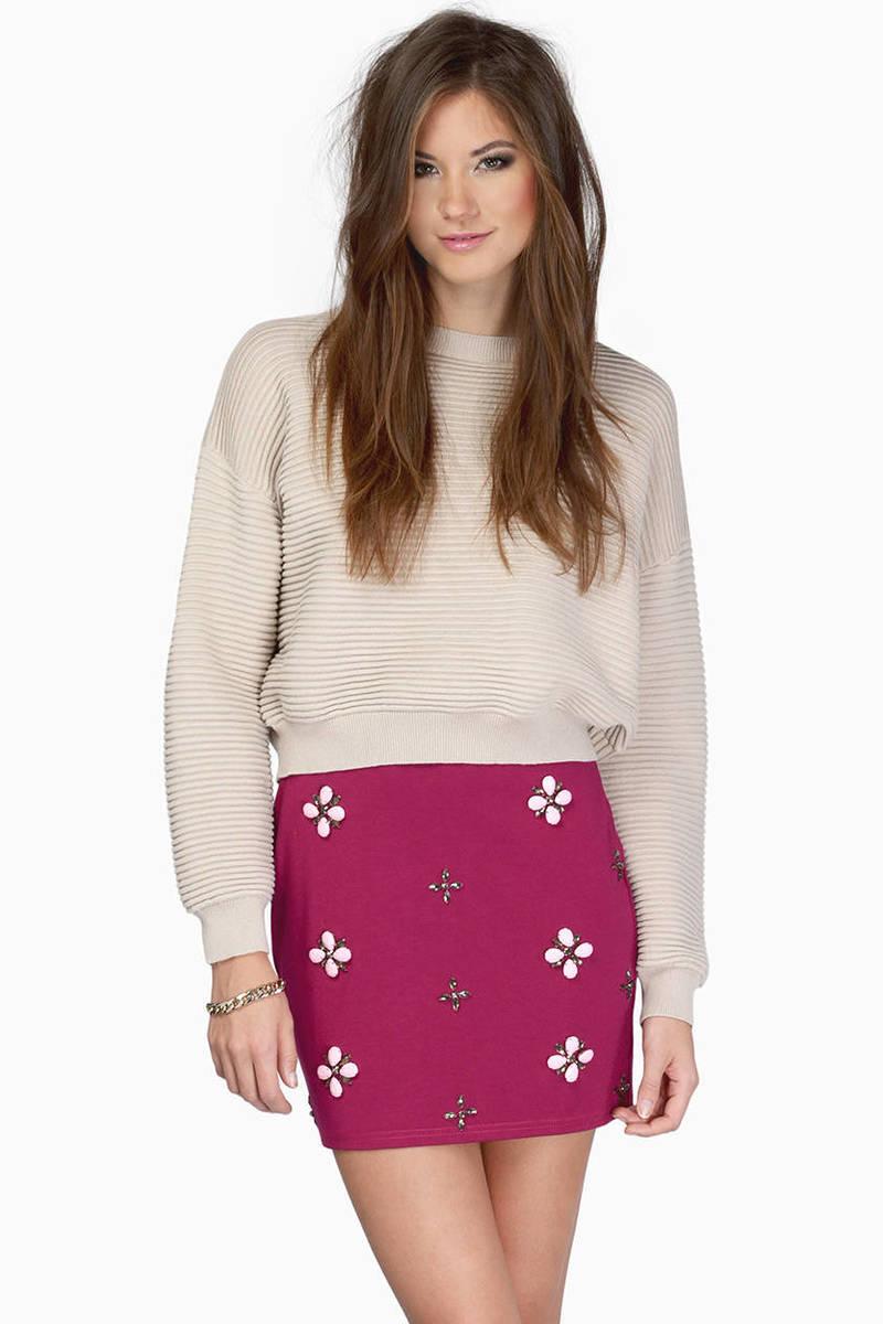 Illuminate The Sky Berry Bodycon Skirt