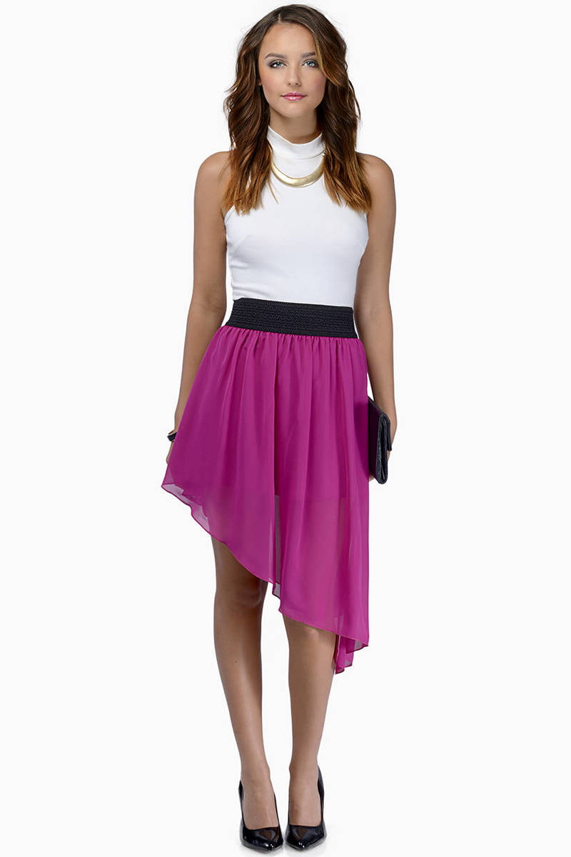 Tia Berry Asymmetrical Tilted Skirt