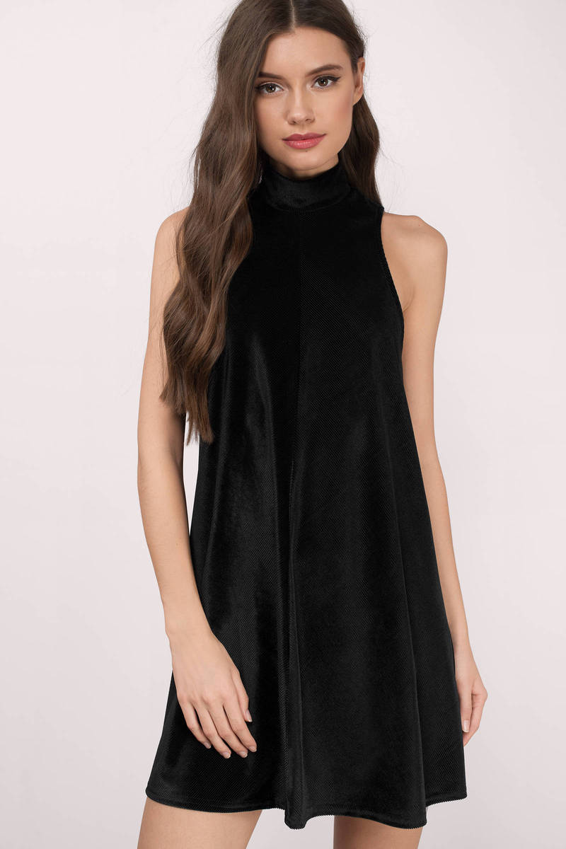 5f1decceb7d Cute Black Shift Dress - High Neck Dress - € 29