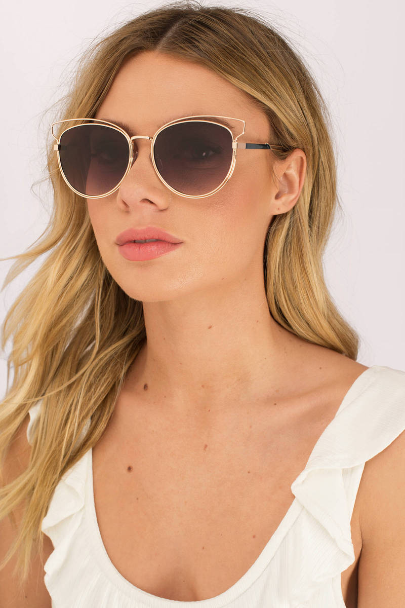Abbey Brown Metal Wire Sunglasses