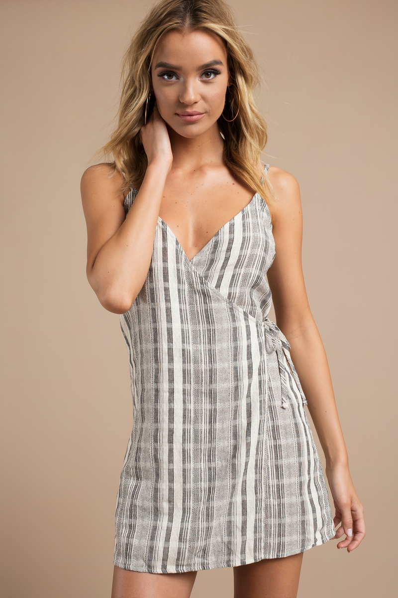 Abby Rust Striped Wrap Dress