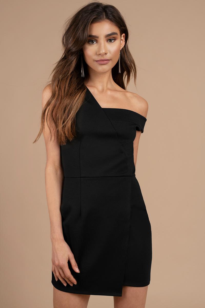 Trendy Black Bodycon Dress - Off Shoulder Mini Dress - Black ... 5846d1e69