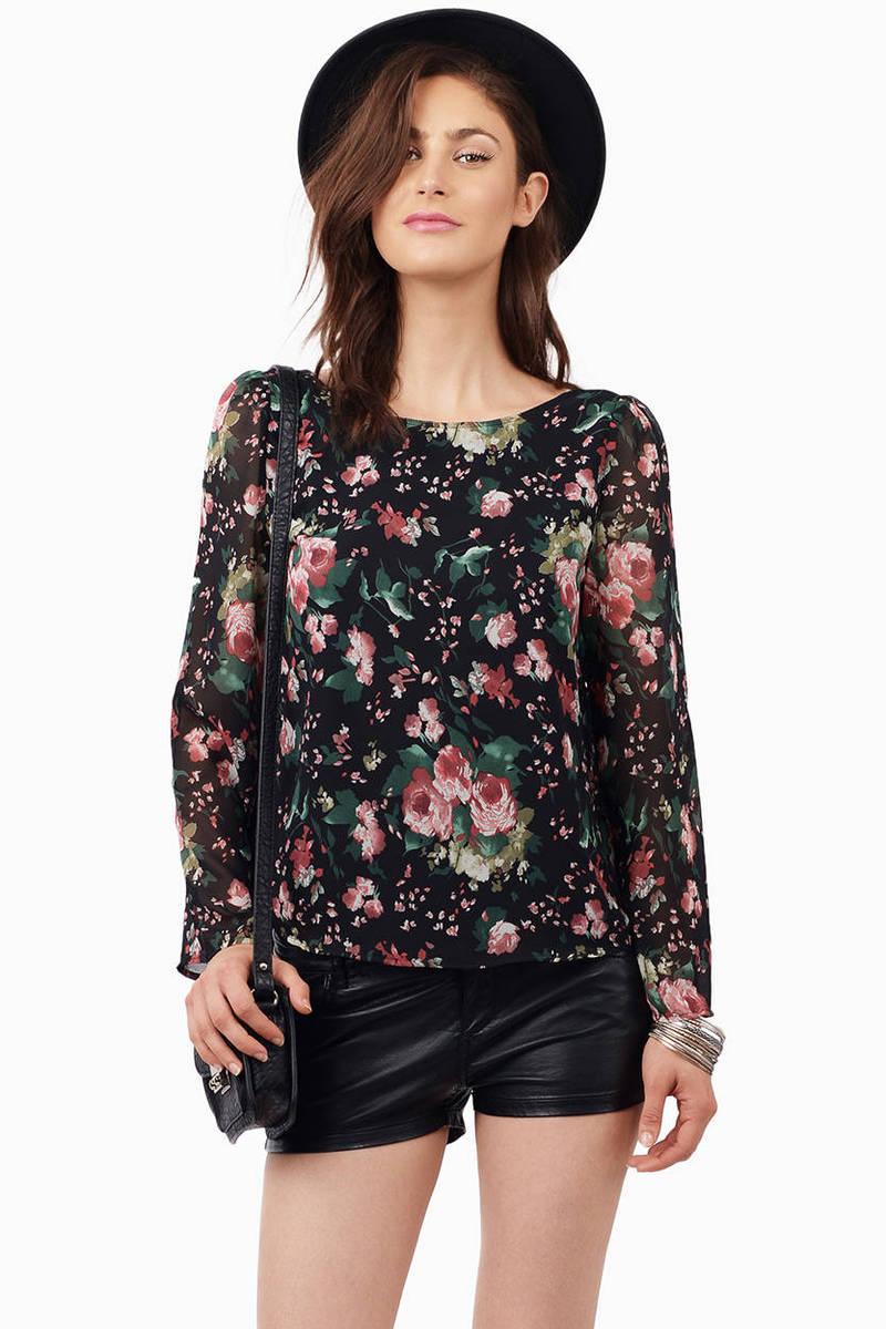 Adorabelle Black Floral Print Blouse