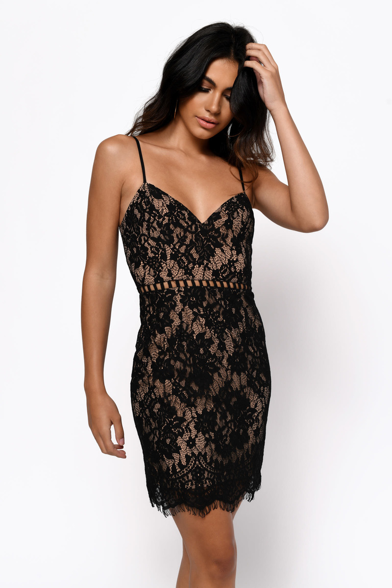 After Dark Black Lace Bodycon Dress