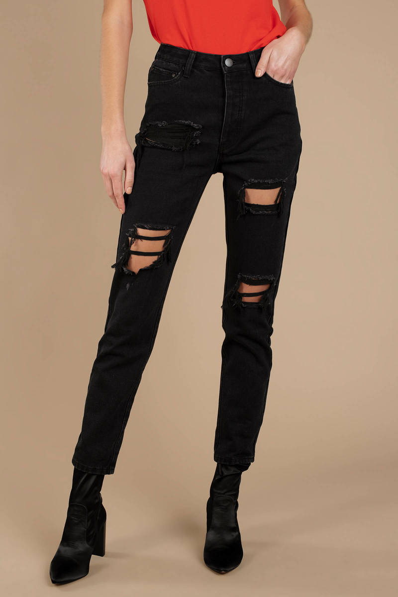 c1022107785 Cool Black Jeans - Distressed Mom Jeans - Black Jeans With Knee Cut ...