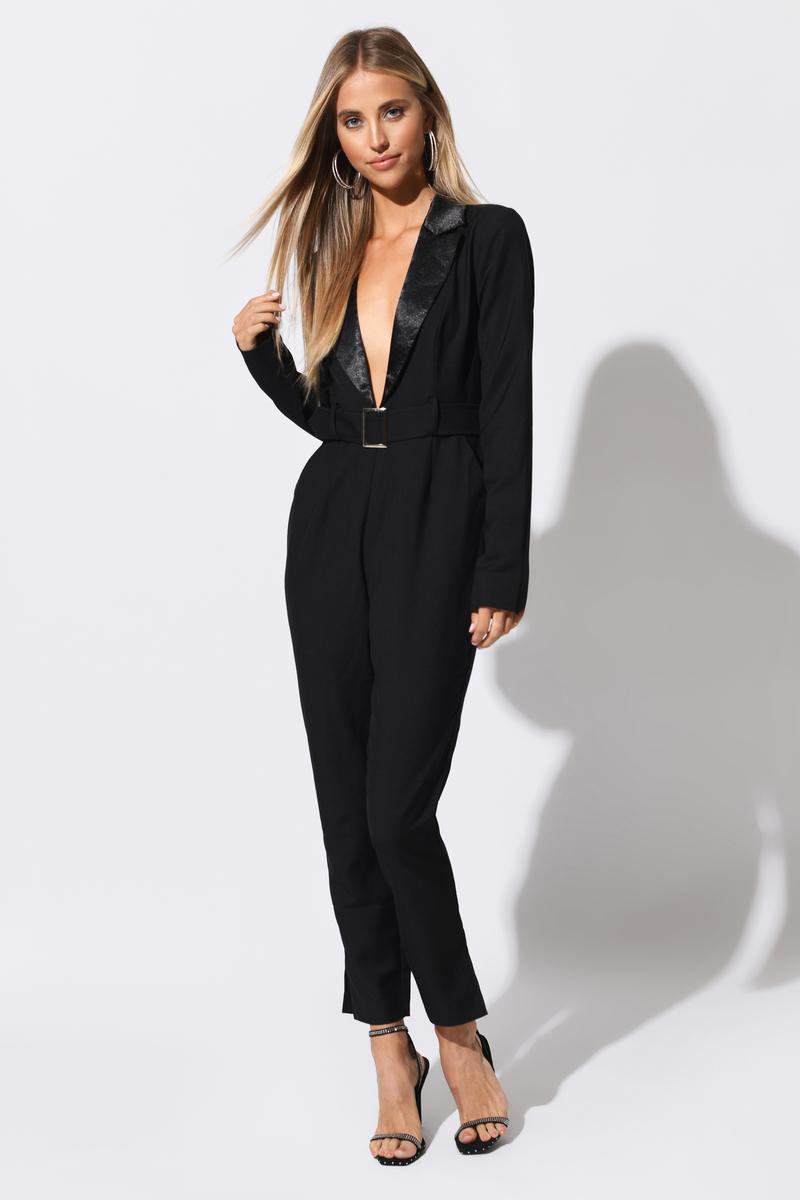 c1c9a619c57 Black Blazer Jumpsuit - Plunging V Neck Jumpsuit - Black Belted ...