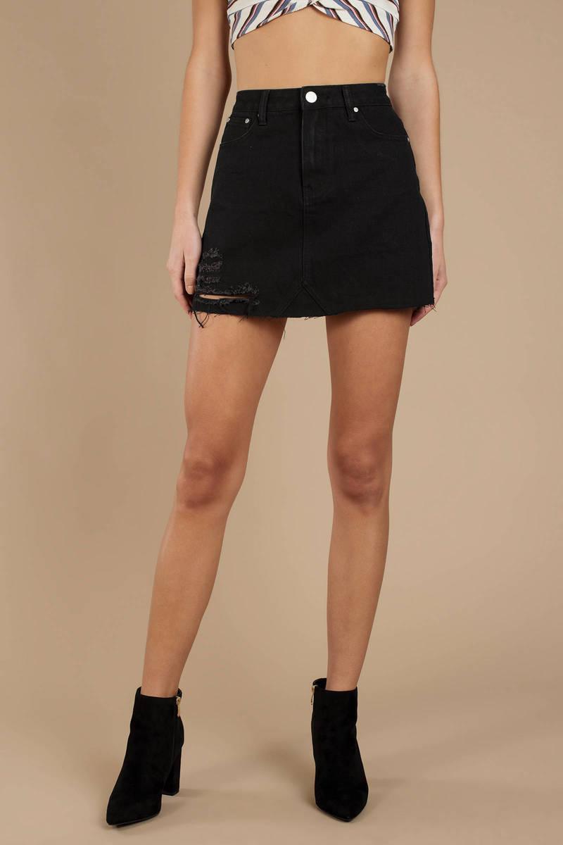 e366866fbe Black Denim Skirt - Ripped Denim Skirt - Black A Line Skirt - $76 ...