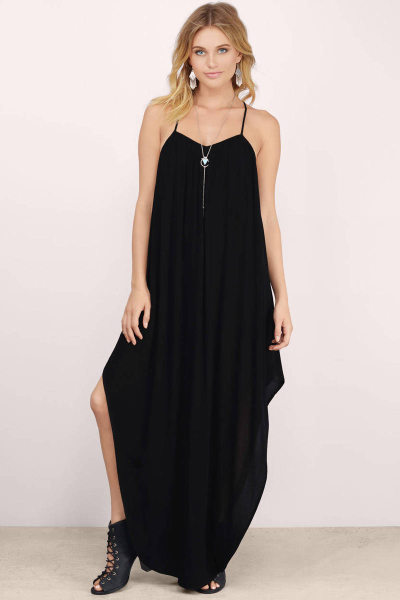 Alessia Black Gauze Maxi Dress