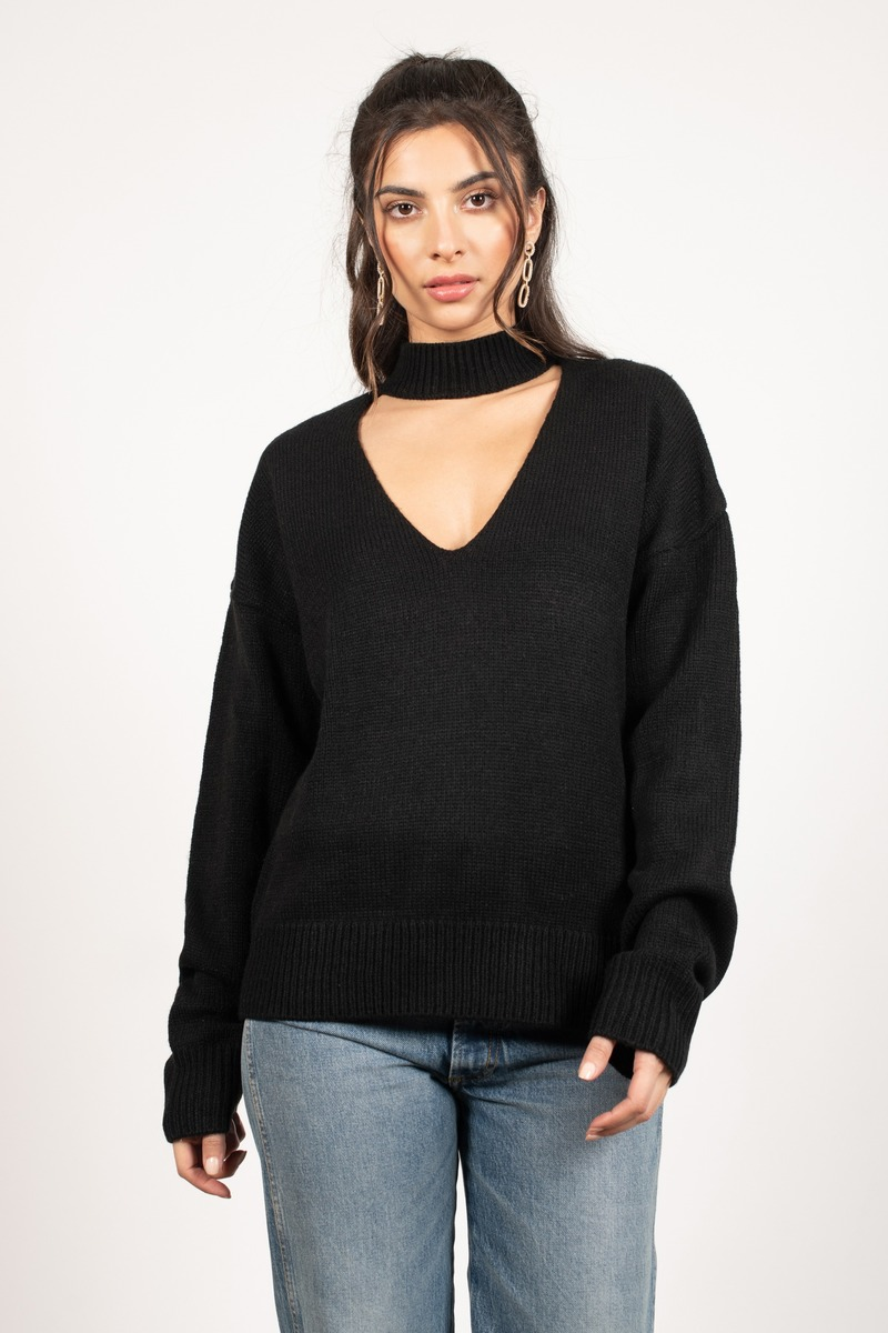 86222a2ee540 Chic Black Sweater - Holiday Sweater - Black Choker Sweater - $27 ...