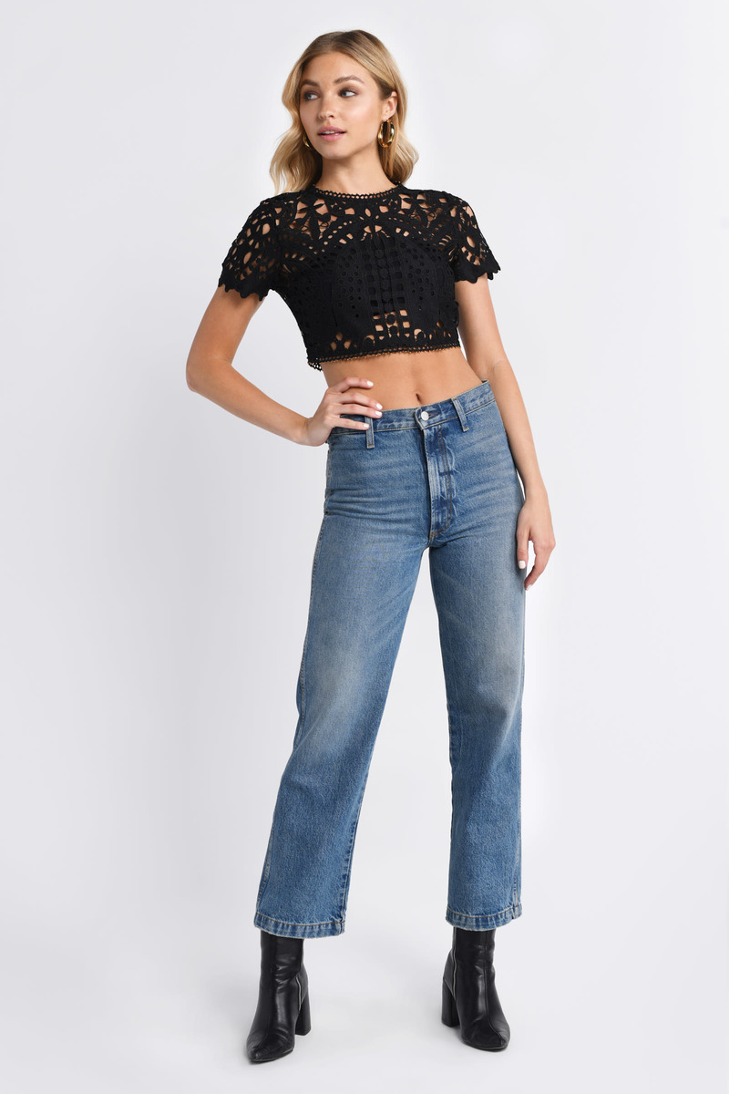 48bec10e69cf0 Lovely Black Crop Top - Short Sleeve Top - Black Lace Crop Top -  27 ...