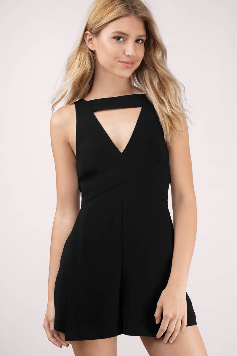 Cameo Cameo All Cried Out Playsuit Black Plunging V Front Strap Jumpsuit