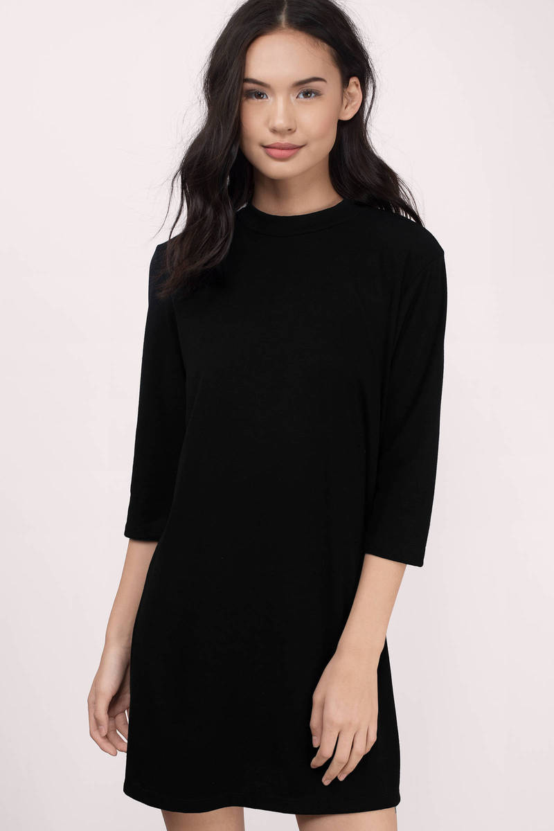 All Day Black Solid Shift Dress