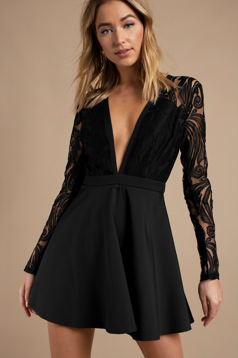 ce65036eade5 Black Skater Dress - Plunging Lbd - Black Formal Dress - Lace Dress ...