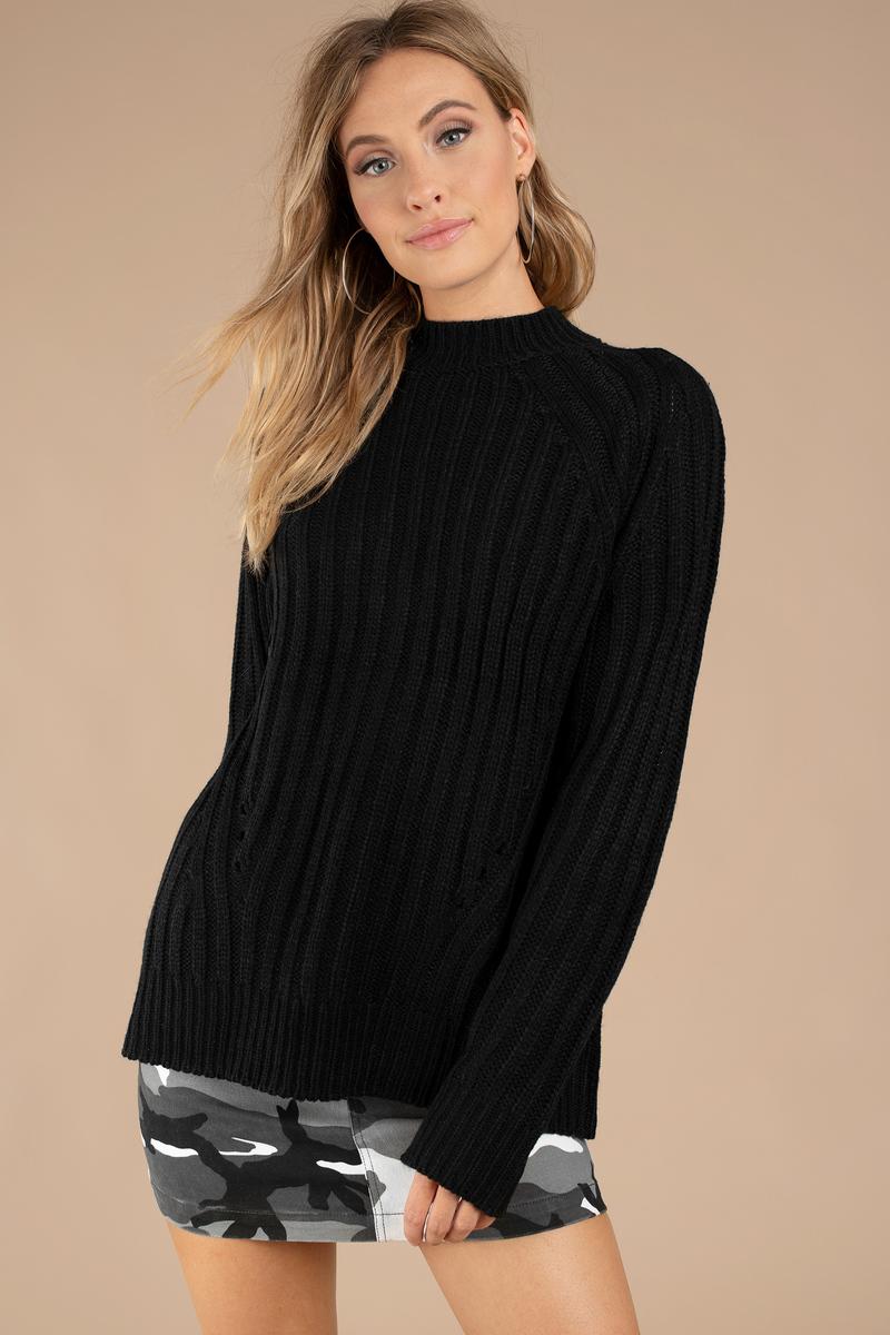 Black Sweater - Crew Neck Sweater - Long Woman Sweater - Sweater ...