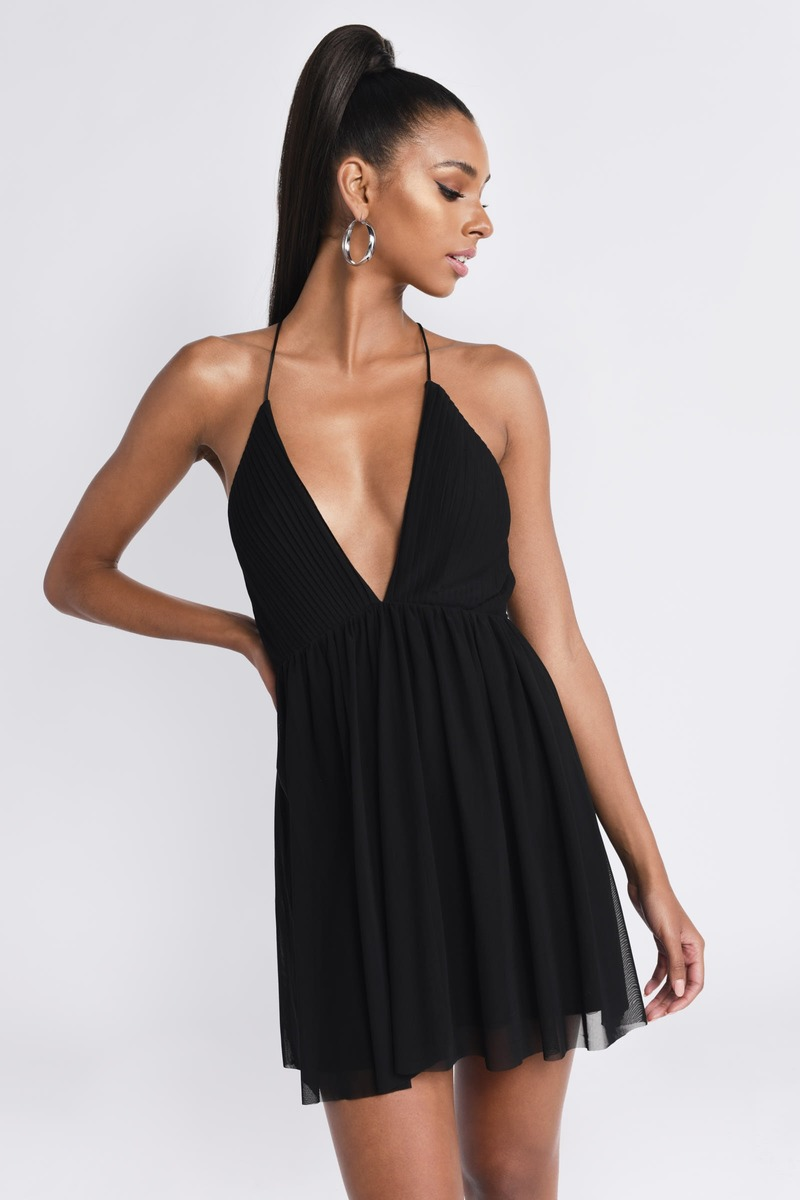 daa121d3567d Black Skater Dress - Deep V Neck Dress - Black Flared Dress -  78 ...