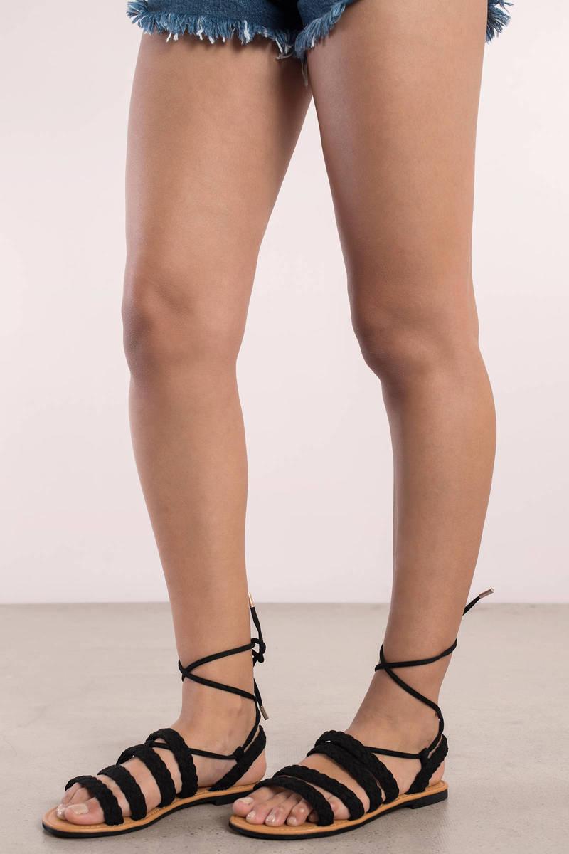 Amanda Black Braided Sandals