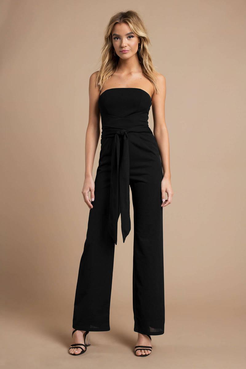 775dfde641 Black Jumpsuit - Strapless Jumpsuit - Black Front Tie Jumpsuit -  44 ...