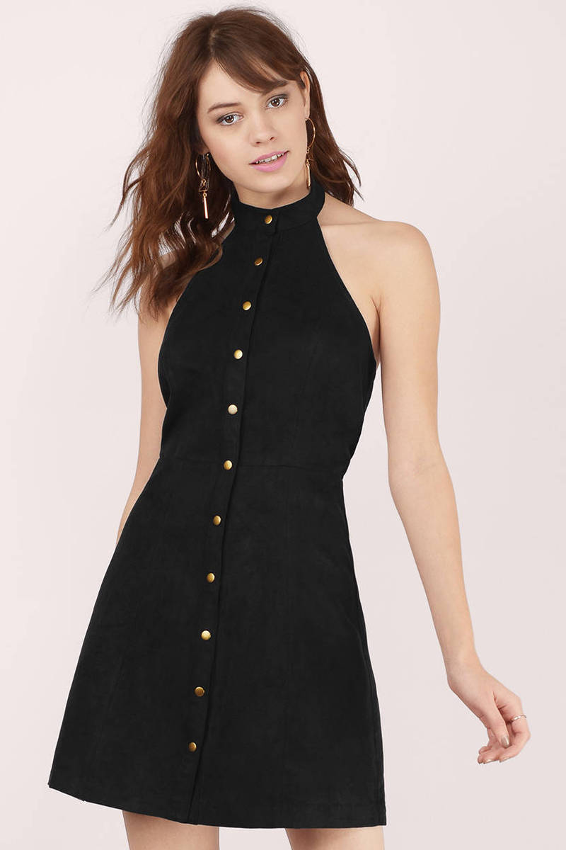 Amarah Black Corduroy Halter Dress
