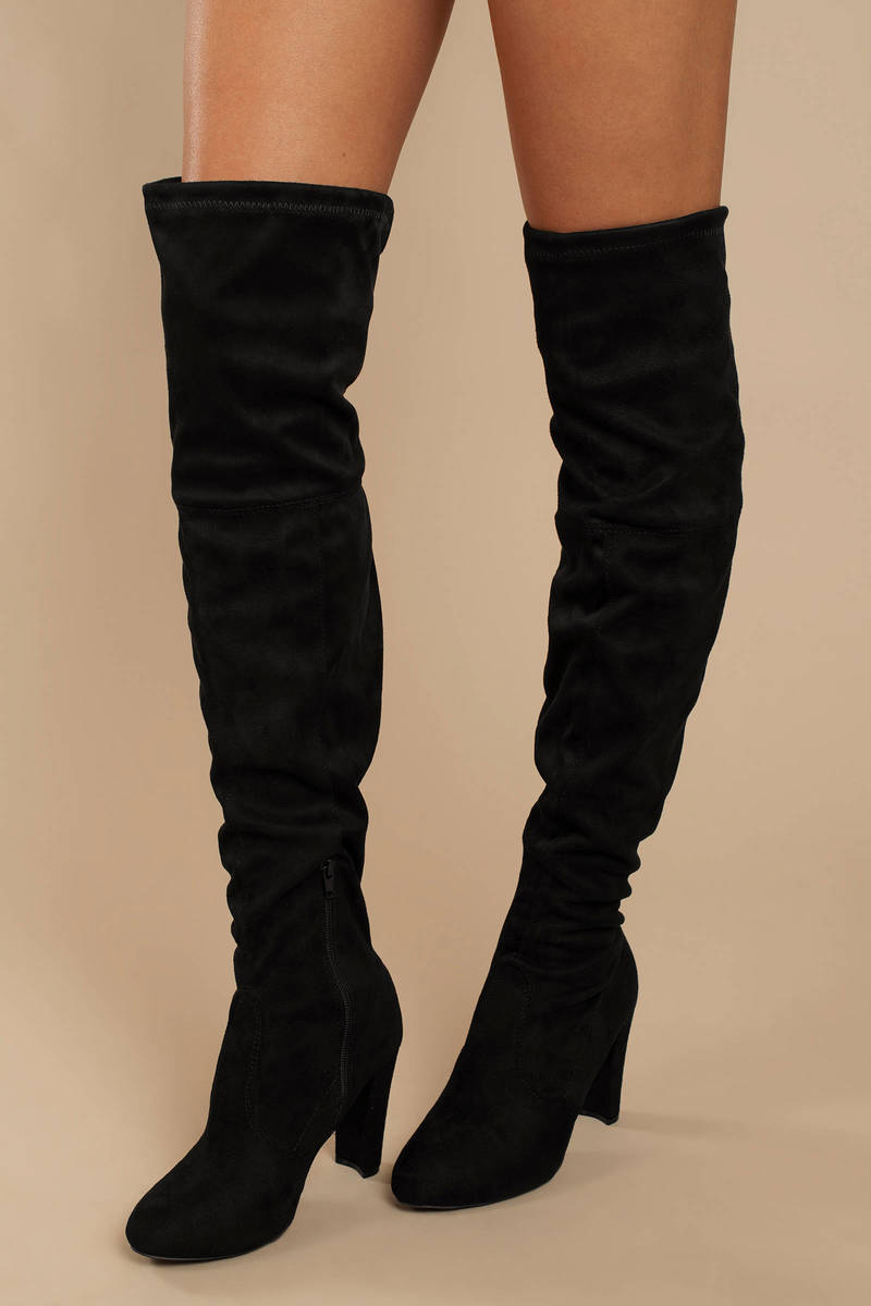 a6bcd1154e3 Black Boots - Suede High Heel Boots - Black Knee High Boots -  92 ...
