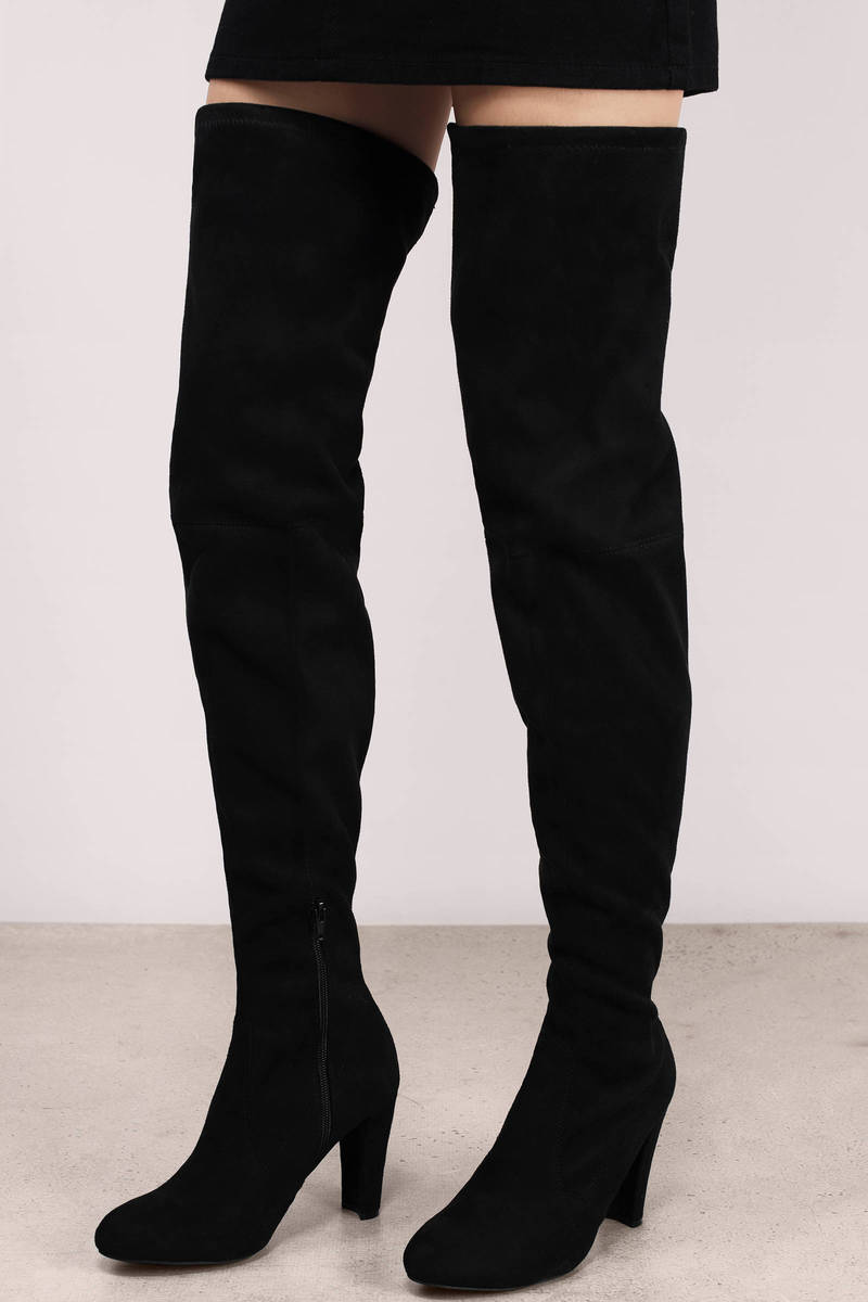 Amaya Black Suede Thigh High Boots