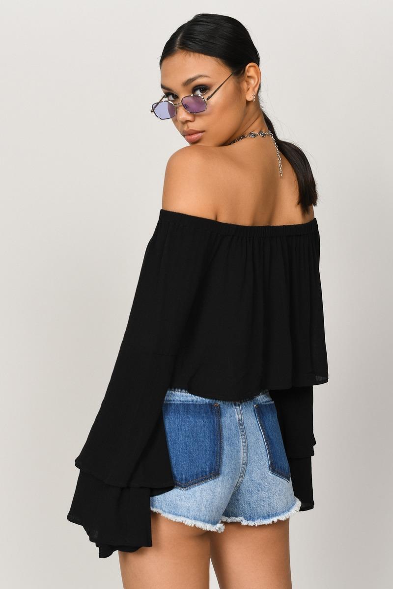 2c85c846a5449b Trendy Black Crop Top - Bell Sleeves - Black Off Shoulder Crop Top ...