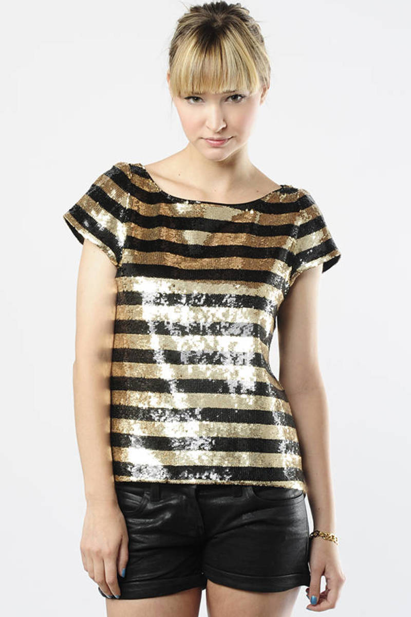 Cute Gold Alice Olivia Top Striped Sequin Tee 118 Flash  Sneakers Black Alfie Oversized T Shirt