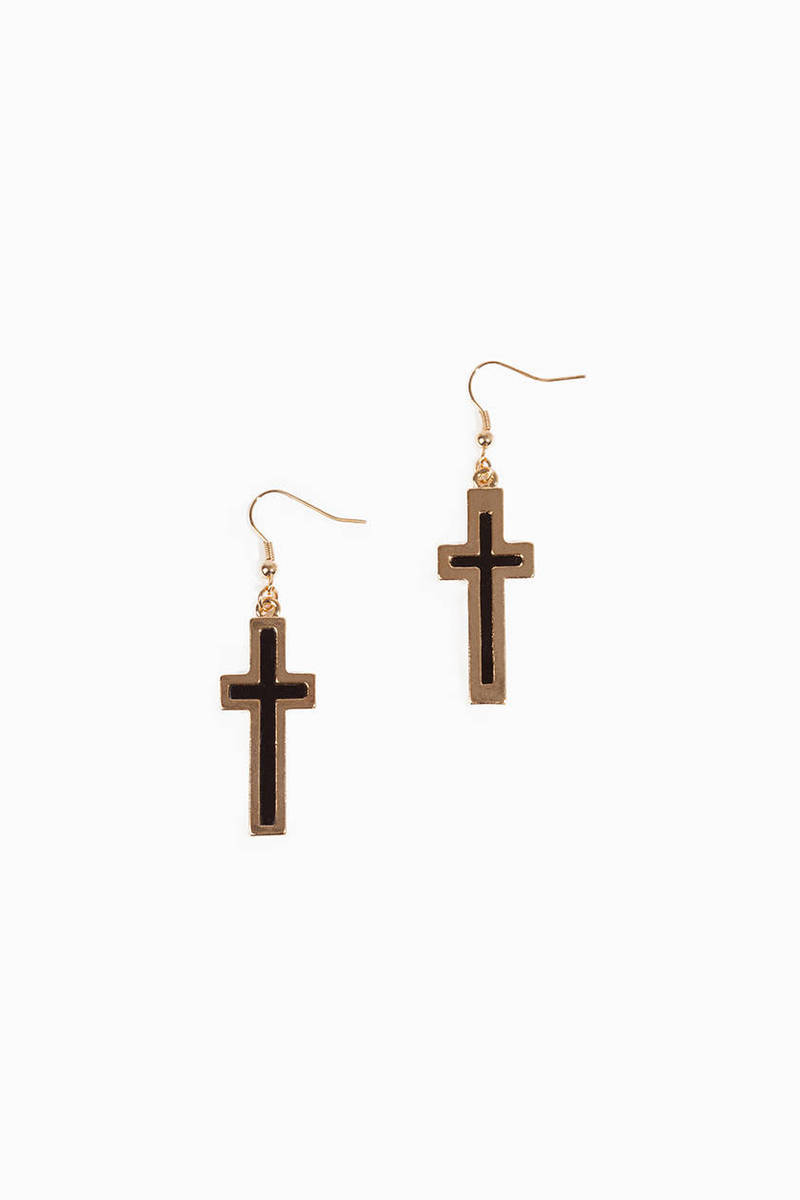 Cross Shadow Black And Gold Earrings