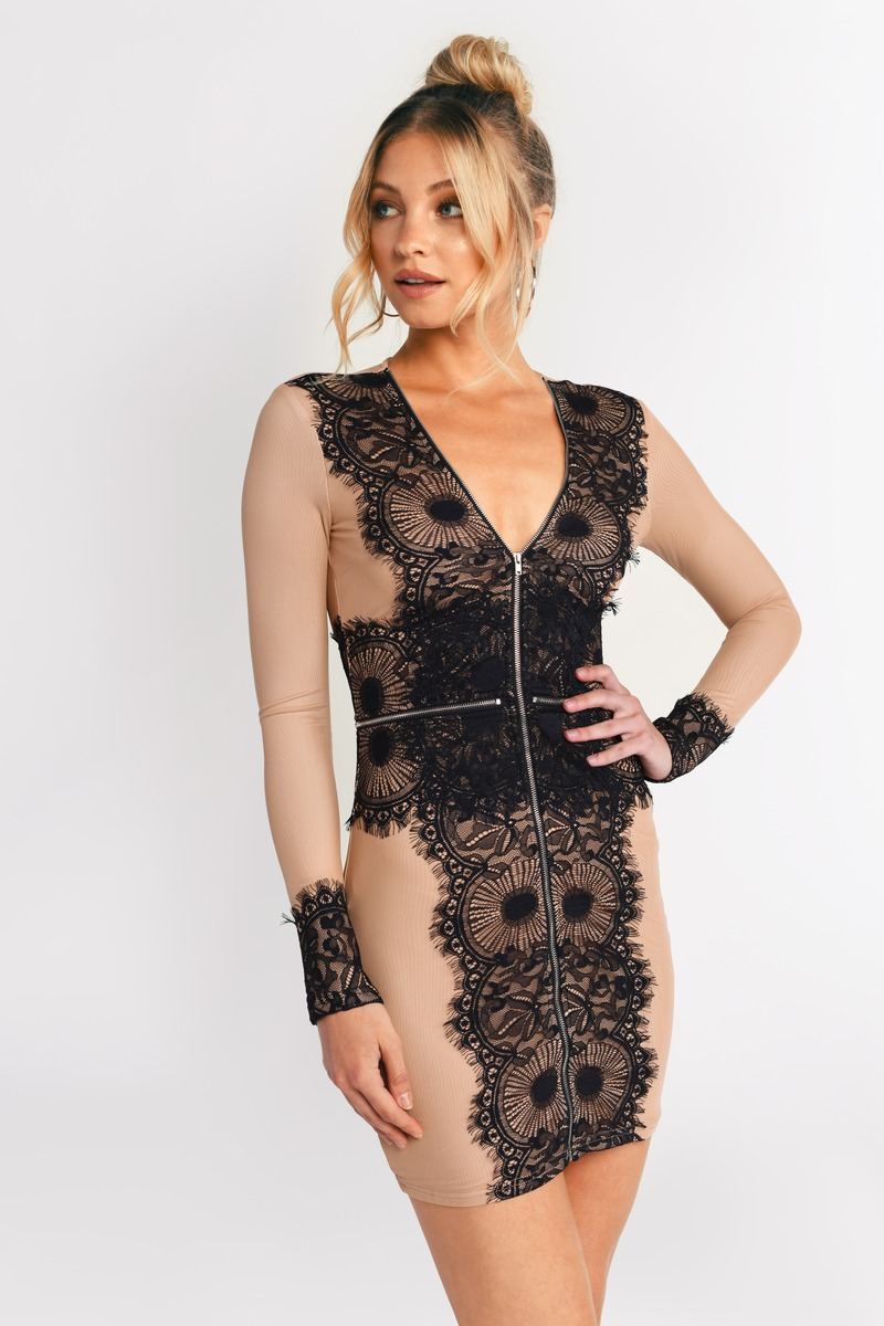 Black And Nude Dress - Lace Dress - Black Zipper Dress -7395
