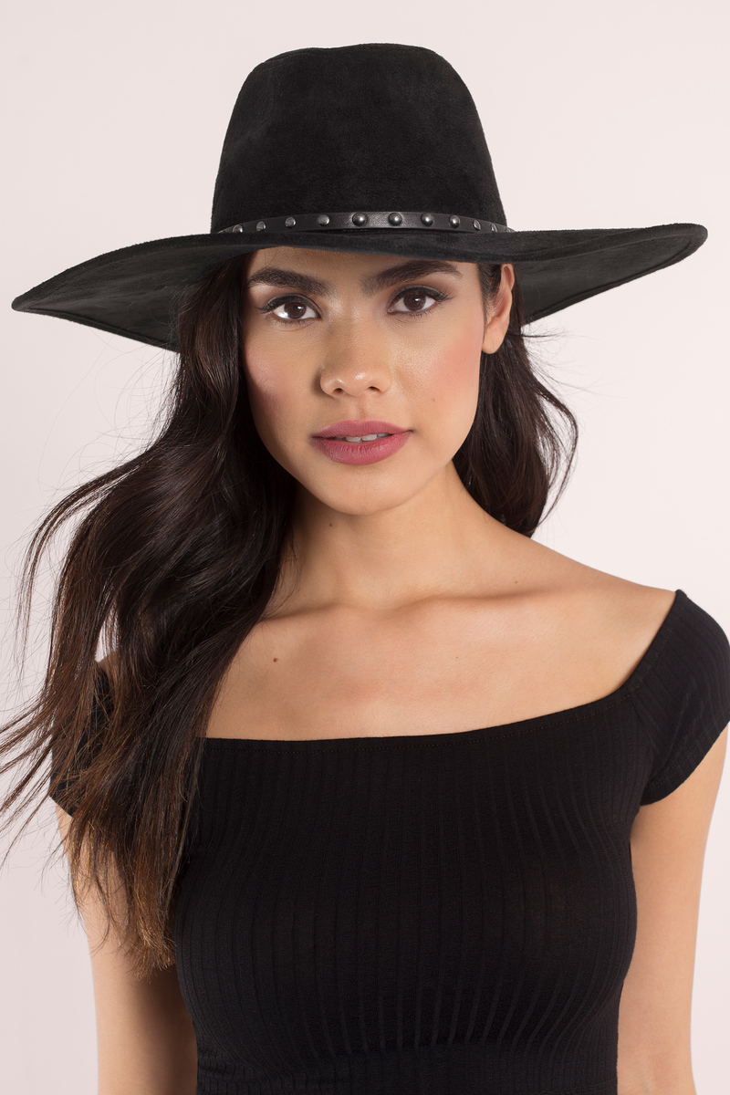 Bianca Black And Silver Suede Brim Hat
