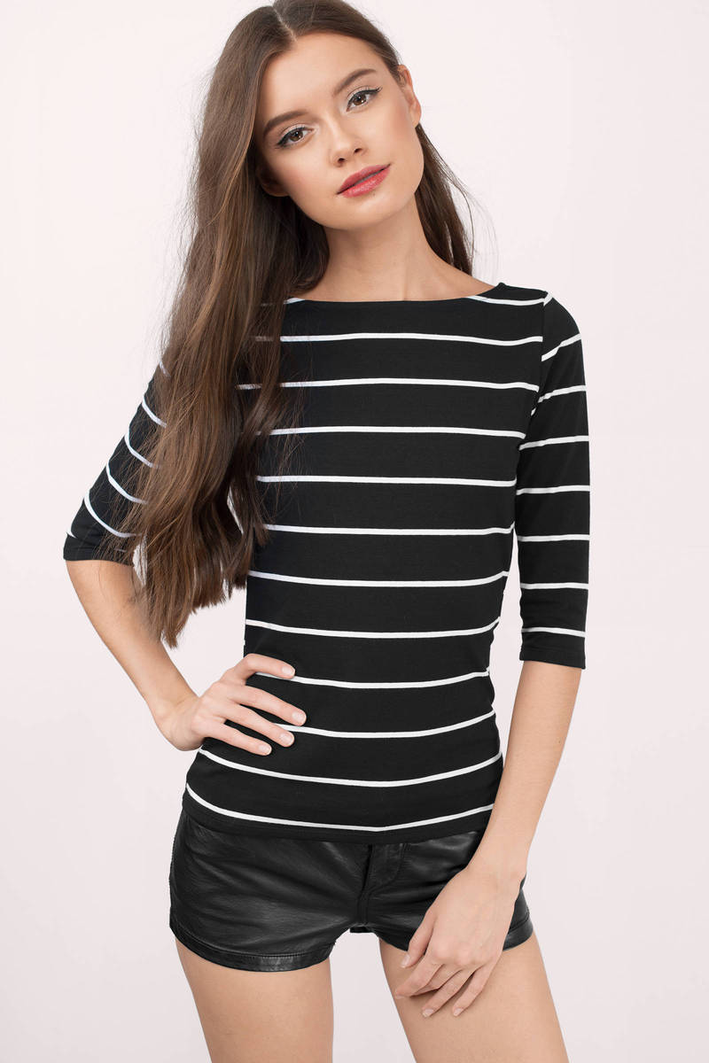 Back To Back White And Black Striped Tee
