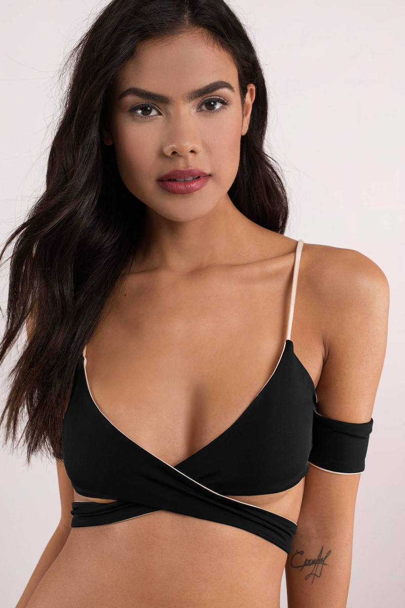 675b36630f KOA Swim Koa Swim Lovestruck Black And White Reversible Off Shoulder Bikini  Top