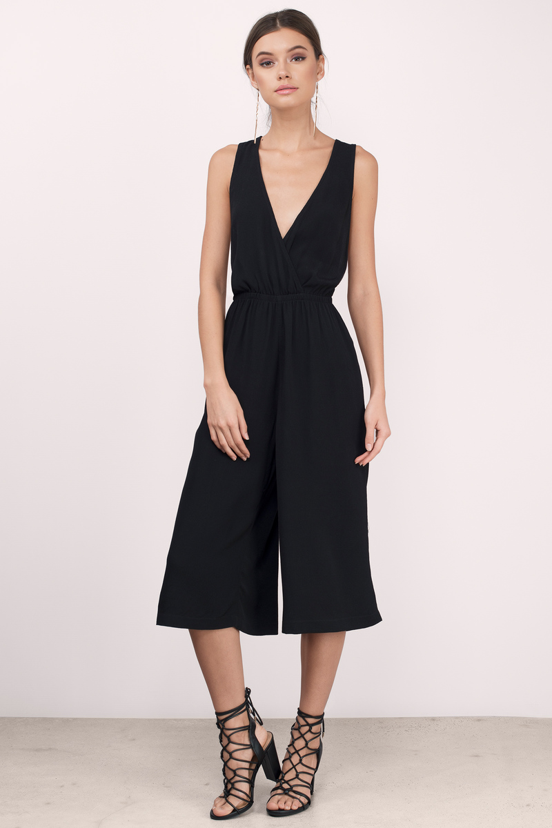 c21f7ff6226 Black Jumpsuit - Plunging V Jumpsuit - Army Black Jumpsuit ...