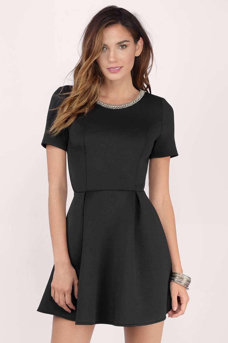 Anna Embellished Black Skater Dress