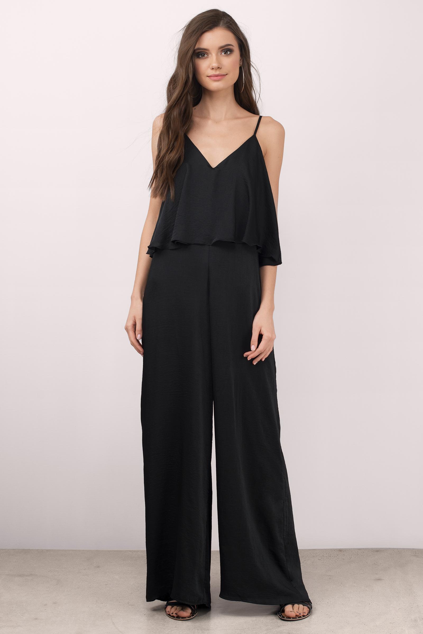 Cute Black Jumpsuit - Wide Leg Jumpsuit - $70.00