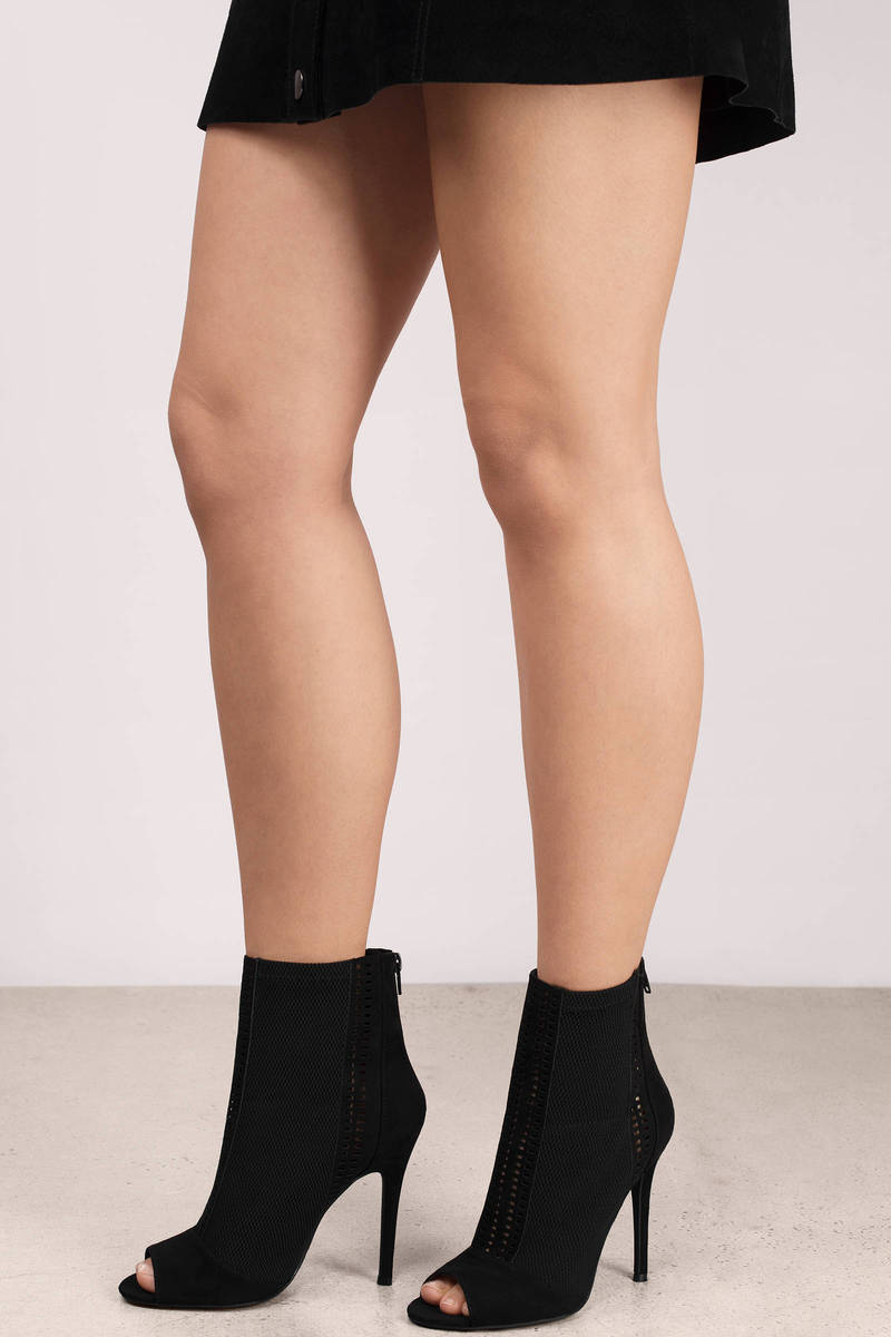 Ari Black Suede Peep Toe Booties