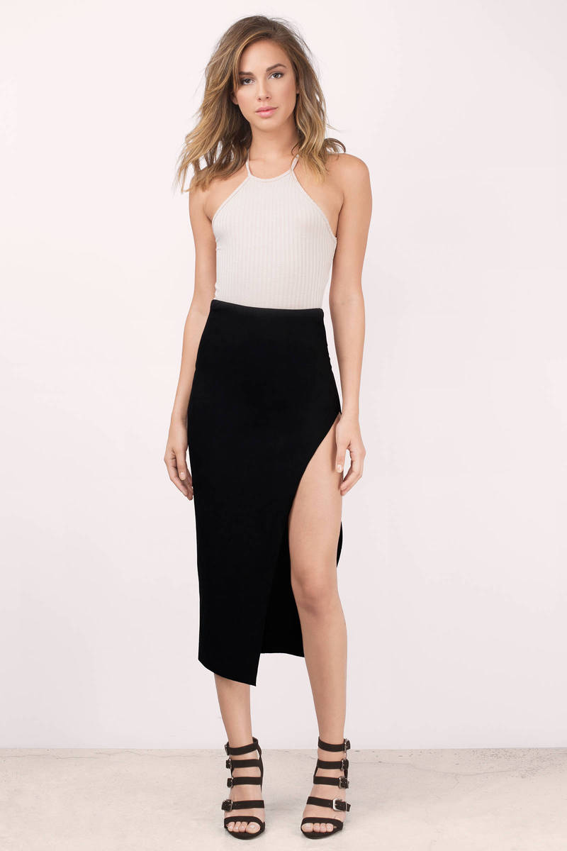 Arleen Black Faux Suede Midi Skirt