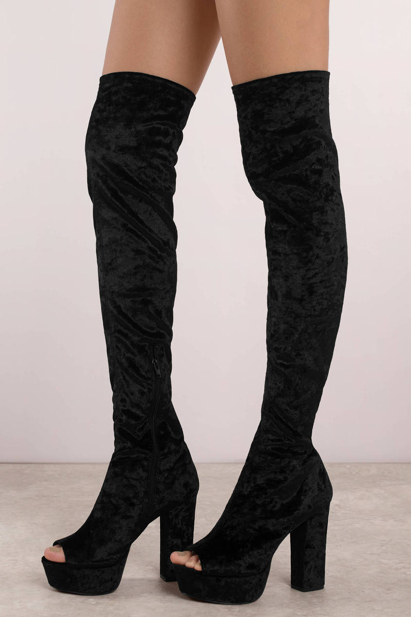 8fc5ecaf5c6 Black Boots - Tall Velvet Boots - Black Thigh High Peep Toe Boots ...