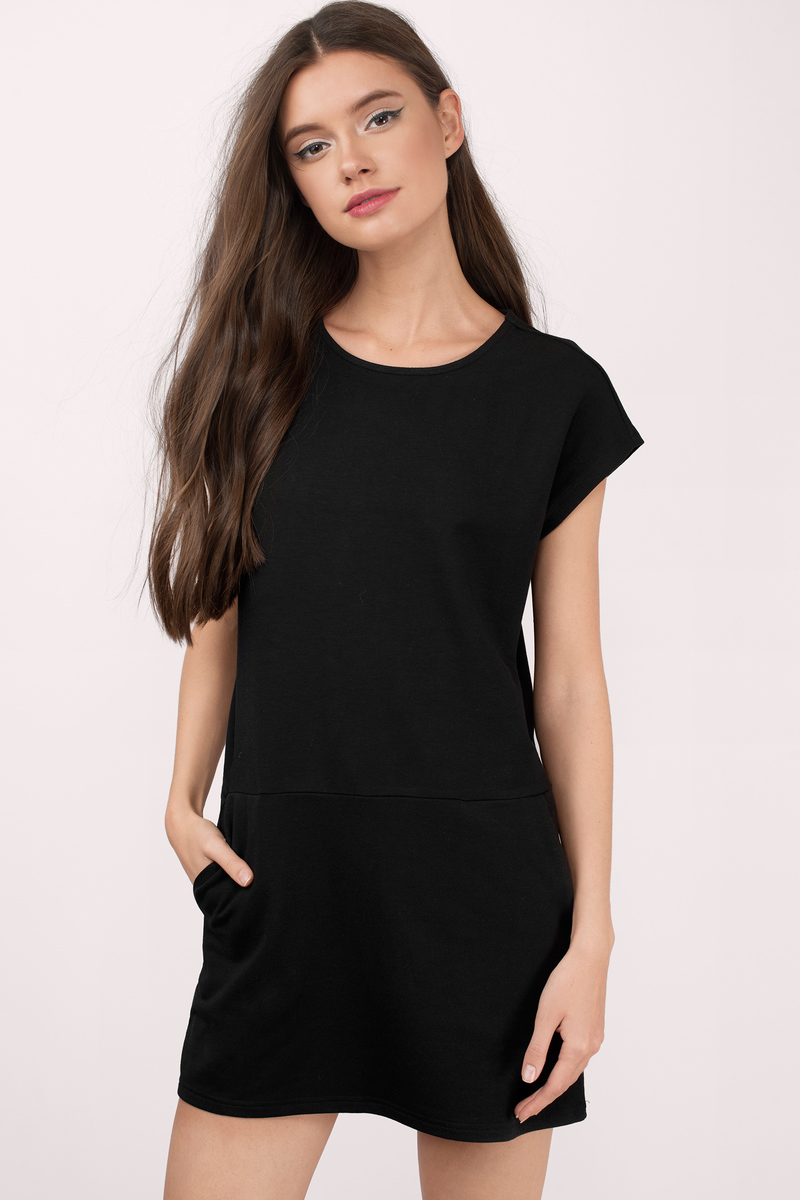 At Ease Sweat Black Shift Dress