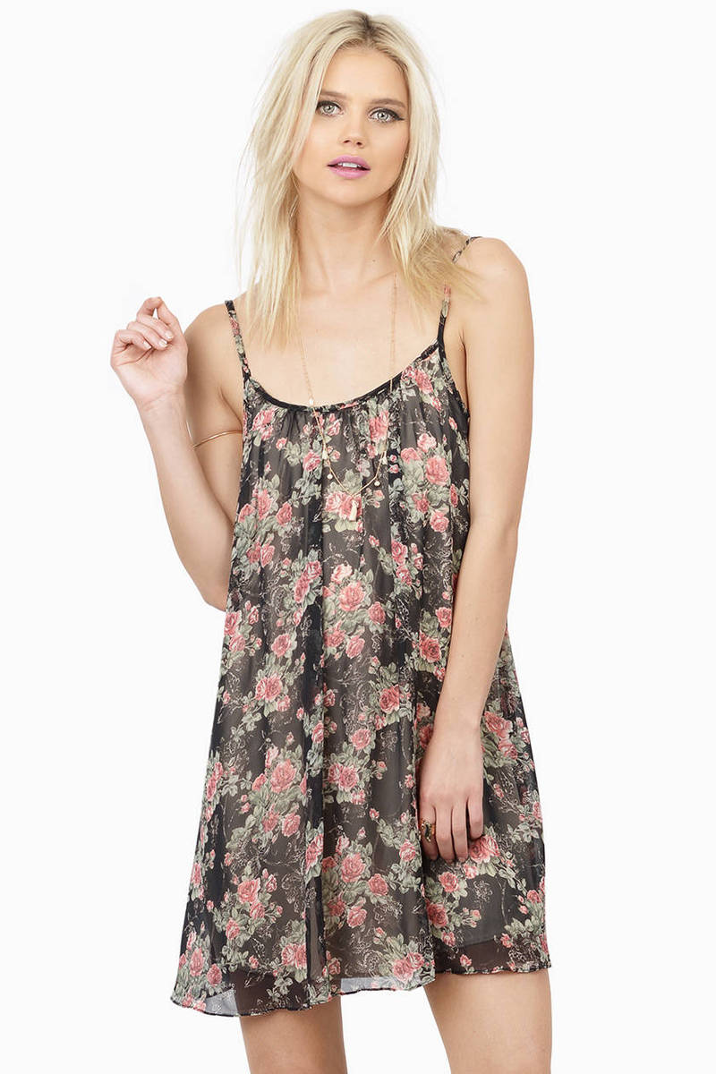 Avanna Black Floral Print Day Dress